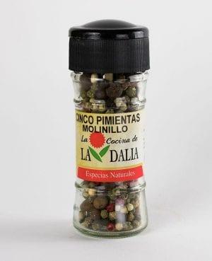 Cinco pimientas con molinillo La Dalia
